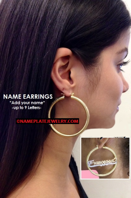 14k Gold Overlay GP hoop 1 1/4 inch any name earring/PERSONALIZED