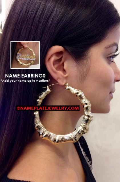 14k Gold Overlay 3.5 inch BIG Super Size hoop bamboo earrings- PERSONALIZED Any Name Earrings