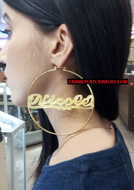 14k Gold Overlay 4 inch BIG Super Size Round Hoops- PERSONALIZED Any Name Earrings