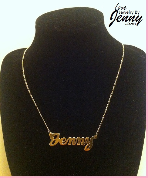 Solid Real 10K Gold Name Plate (single plate) with free chain/ Personalized, High Polished