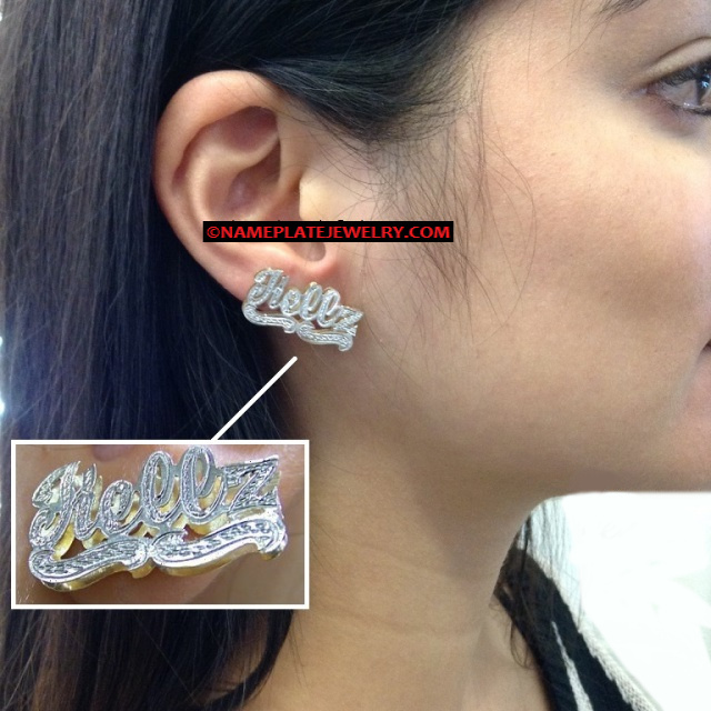 Two Tone Silver/Gold Plated 3D Double Plate Name Earrings Style 10