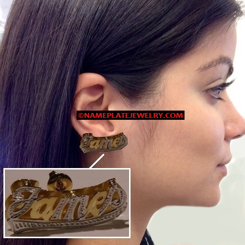 14K Gold Overlay 3D Double Plate Name earring studs/Personalized/two tone