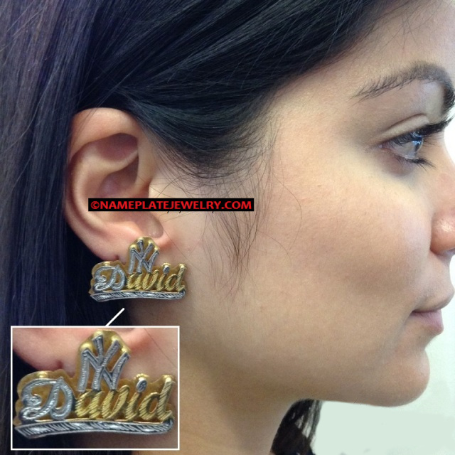 14K Gold Overlay double plate name earring/stud/PERSONALIZED/with NY over name