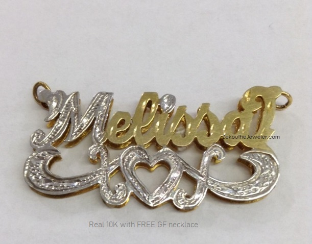 Real 10K 3-D Name Plate/Free GF Necklace #10