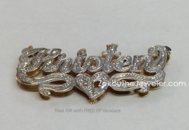 Real 10K 3D Name Plate with free chain #13