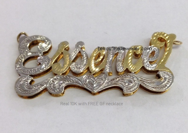 Real 10K 3-D Name Necklace with free chain #14
