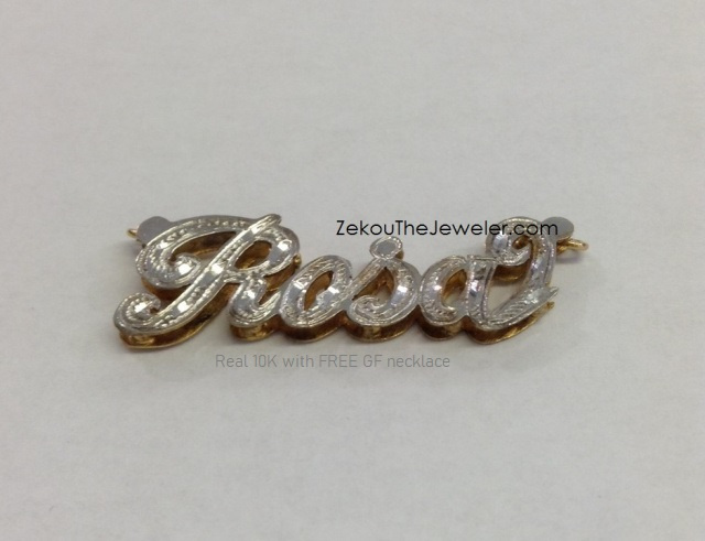 Real 10K 3D Name Necklace with free chain #15