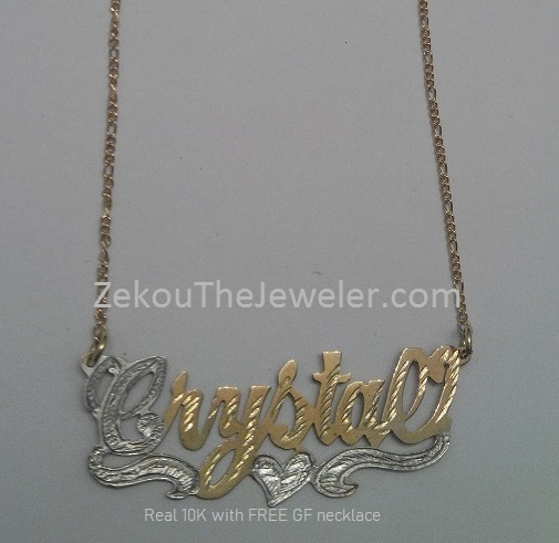 Real 10K Gold Single Plate Nameplate with GF Chain #5