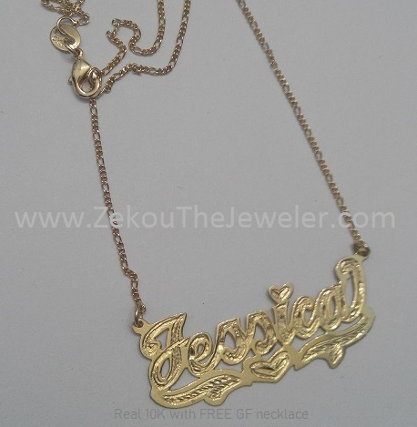 Real 10K Gold Single Plate Nameplate with GF chain- DC #7