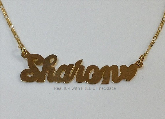 Real 10K Gold Name Plate (single plate) with free GF chain/personalized, heart on end #8