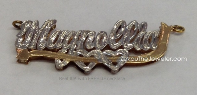 Real 10K Gold 3-D (Double Plate) nameplate with hearts & arrow/ Free GF chain #3
