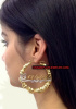 14K Gold Overlay bamboo 2 1/4inch any name earrings/ PERSONALIZED