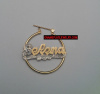 14K Gold Overlay Kids 1 inch any name earring/PERSONALIZED