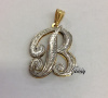 14K GP & Silver Overlay 3D Initial Charm NECKLACE/free chain/PERSONALIZED-Style 8